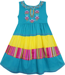 Girls Dress Colour Block Striped Embroidered Flower Blue Size 18M-5 Years