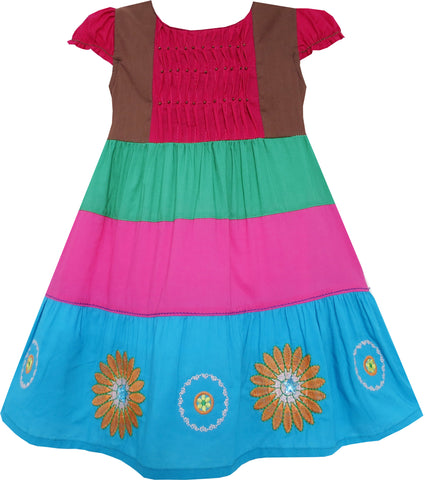 Girls Dress Colour Block Smocked Embroidered Flower Red Size 2-6 Years