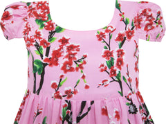 Girls Dress Chinese Plum Flower Print Princess Pink Size 3-10 Years