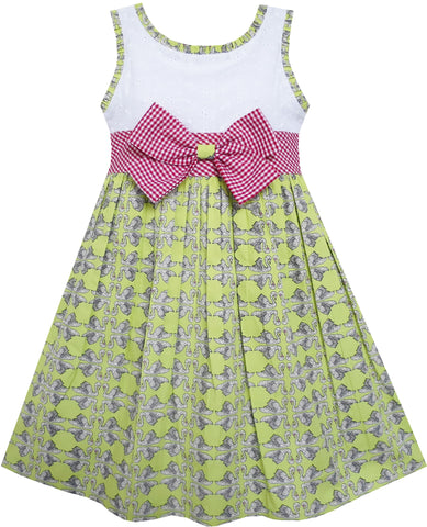 Girls Dress Bow Tie Swan Print Princess Cotton Green Size 4-10 Years