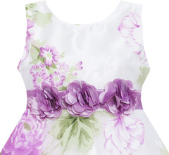 Girls Dress Sleeveless Bridal Lace With Flower Detailing Purple Size 4-12 Years