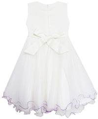 Girls Dress Tulle Lace Embroidered Flower Trim With Beading Size 4-10 Years