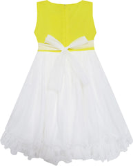 Girls Dress Lace Flower Bodice Sleeveless Tulle Yellow Size 4-12 Years