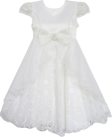 Girls Dress Bow Tie With Beading Lace Skirt Wedding White Size 4-10 Years