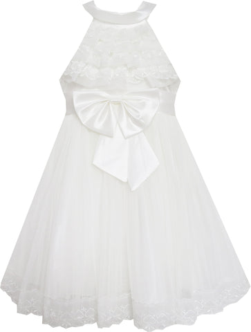 Girls Dress A-line Round Collar Sleeveless Pleated Bodice White Size 5-12 Years
