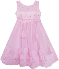 Girls Dress Sleeveless Accented Rosette Lace Beading Pink Size 5-12 Years