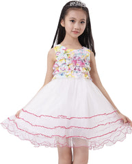 Girls Dress Sleeveless Pleated Bodice Lace Tiered Skirt Pink Size 5-12 Years