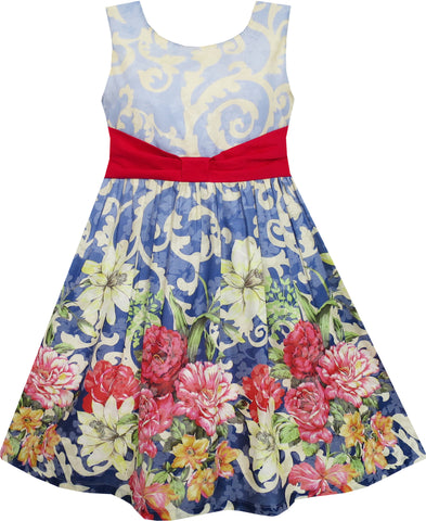 Girls Dress Sleeveless Blooming Flower Garden Print Blue Size 4-12 Years