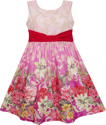 Girls Dress Sleeveless Blooming Flower Garden Print Red Size 4-12 Years