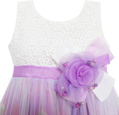 Girls Dress Rose Flower Detailing Tulle Overlay Purple Size 7-14 Years