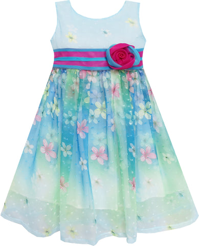 Girls Dress A-line Flower Detailing Rose Striped Princess Blue Size 4-10 Years