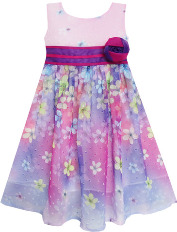 Girls Dress A-line Flower Detailing Rose Striped Party Purple Size 4-10 Years