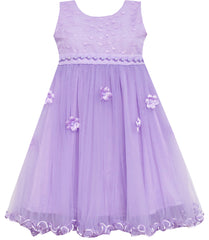 Girls Dress Lace Bodice Hi Lo Maxi Dress With Beading Purple Size 4-12 Years