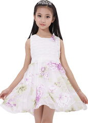 Girls Dress Lace Pleated Bodice Flower Detailing Skirt Purple Size 4-10 Years