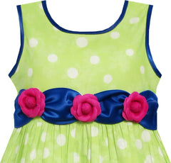Girls Dress Sleeveless Polka Dot Rose Flower Garden Green Print Size 4-12 Years