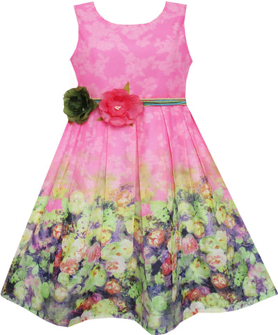 Girls Dress Sleeveless Blooming Rose Flower Garden Print Pink Size 4-12 Years
