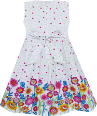 Girls Dress Checkered Collar Sunflower Print Polka Dot Size 3-8 Years