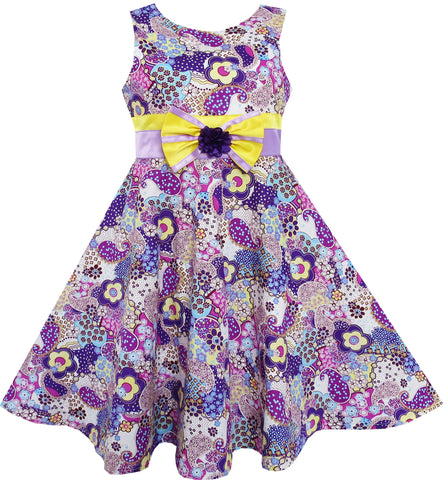 Girls Dress Sleeveless Paisley Flower Print Bow Tie Purple Size 4-10 Years