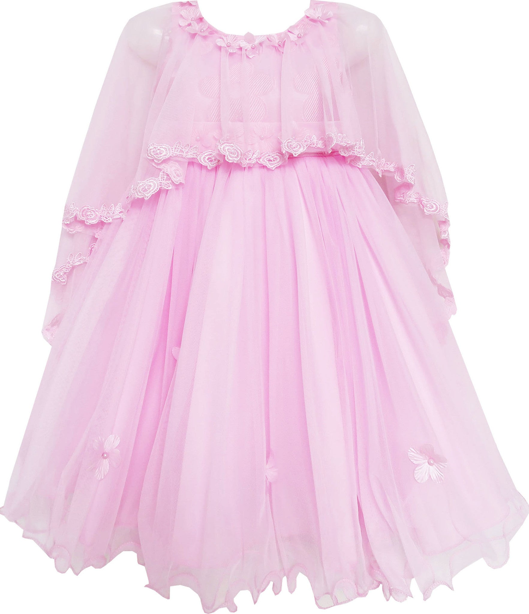 Sunny Fashion Girls Dress Knitted Cotton Stretch Tulle Overlay Flower Size 4-10