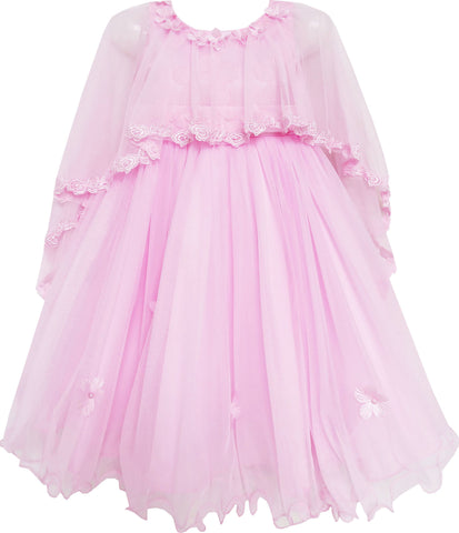 Girls Dress Wedding Flower Girl Lace Tulle Overlay With Shawl Pink Size 4-10 Years