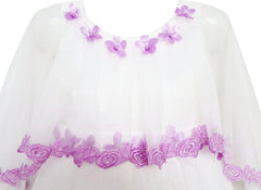 Girls Dress Wedding Flower Girl Lace Tulle Overlay With Shawl Size 4-10 Years