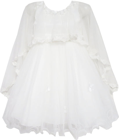 Girls Dress Wedding Flower Girl Lace Tulle With Shawl White Size 4-10 Years