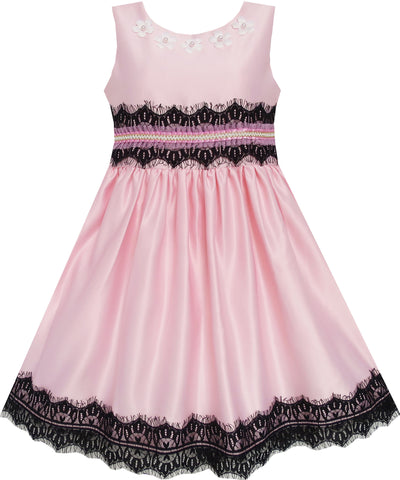 Girls Dress Satin Lace Trim Beading Wedding Shining Pink Size 4-10 Years