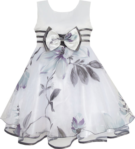 Girls Dress Pageant Flower Detailing Tulle Overlay Gray Size 4-8 Years