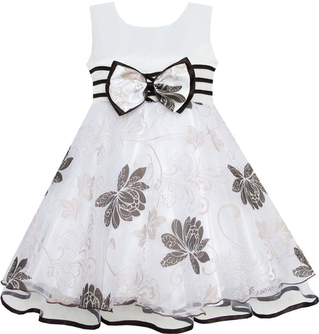 Girls Dress Wedding Flower Detailing Tulle Overlay Gray Size 4-8 Years