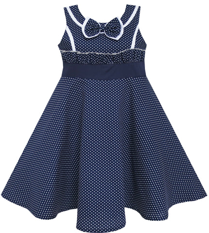 Girls Dress Bow Tie Heart Print Sleeveless Blue Size 7-14 Years
