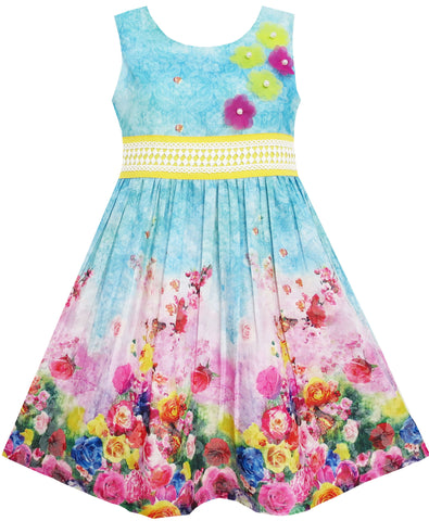 Girls Dress Blooming Rose Garden Flower Print Sleeveless Blue Size 4-12 Years