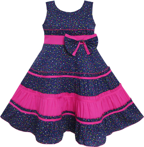 Girls Dress Bow Tie Polka Dot Print Striped Pattern Pink Size 7-14 Years