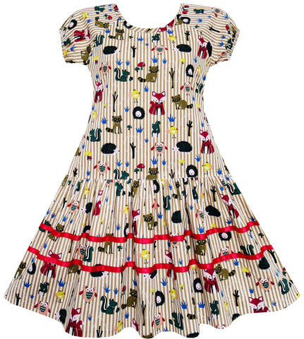Girls Dress Fox Squirrel Bird Mushroom Print Striped Size 7-14 Years