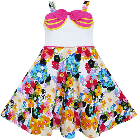 Girls Dress Bow Tie Blooming Flower Garden Print Pink Size 4-8 Years