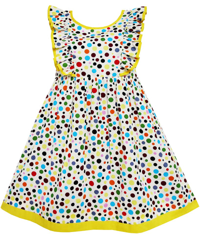 Girls Dress Polka Dot Overlap Design With Trim Yellow Size 4-10 Years