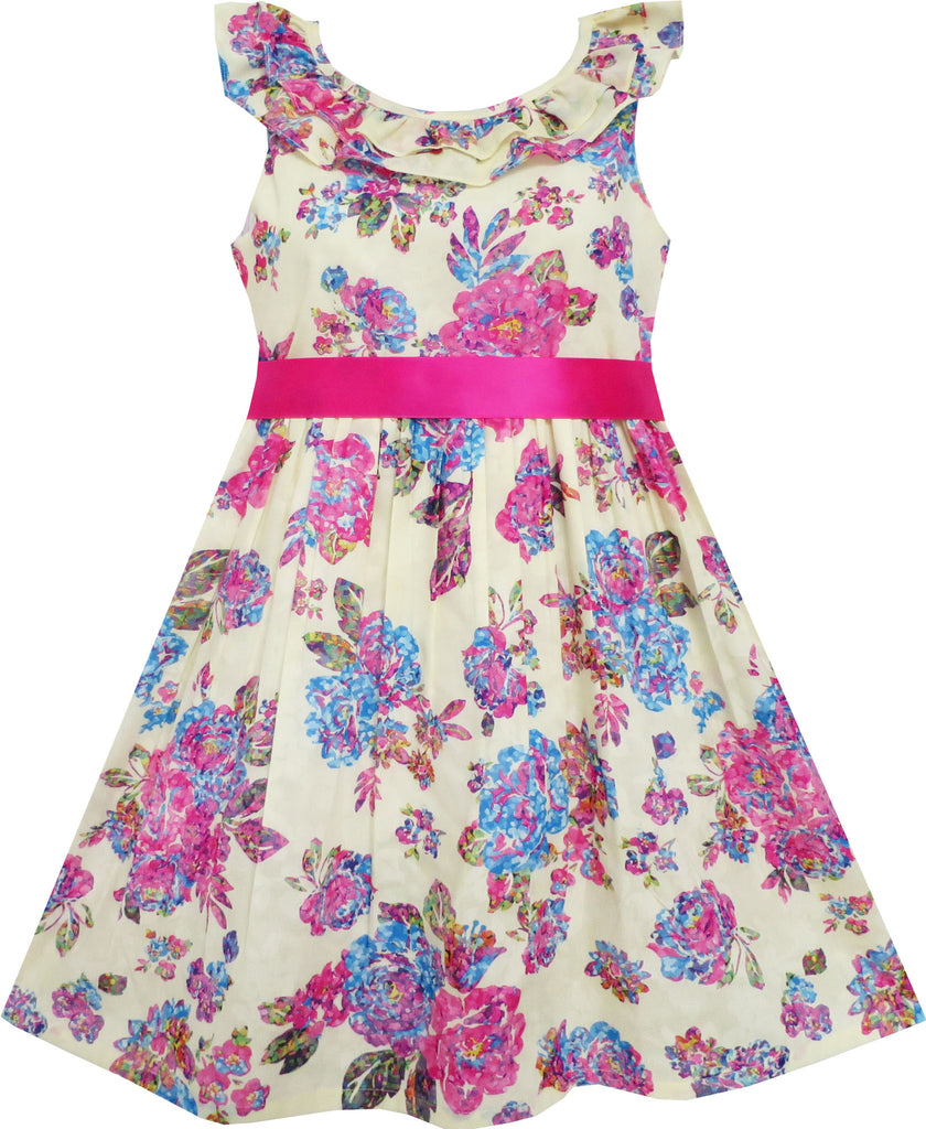 Girls Dress Flower Detailing Overlap Collar Pink Size 4-10 Years
