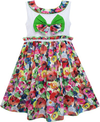 Girls Dress Bow Tie Blooming Flower Detailing Collar Green Size 4-10 Years