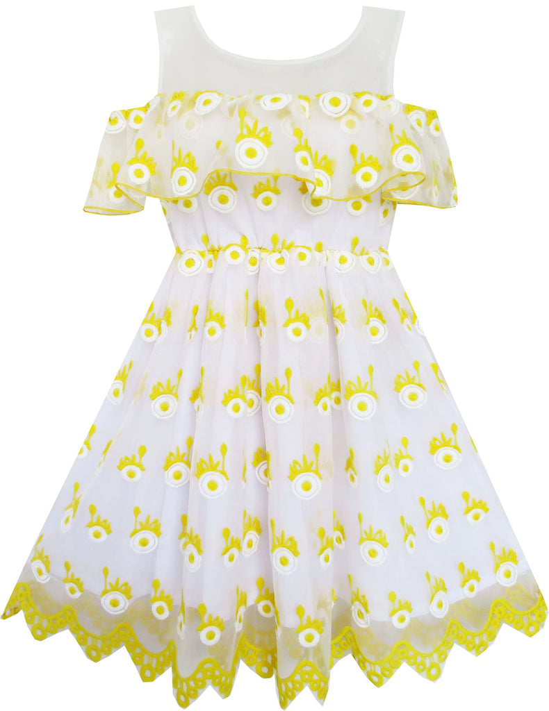 Girls Dress Sleeveless Lace Trim With Flower Detailing Yellow Size 4-10 Years