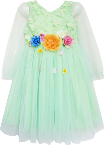 Girls Dress Wedding Bridal Lace Tulle Overlay Flower Detailing Green Size 4-10 Years