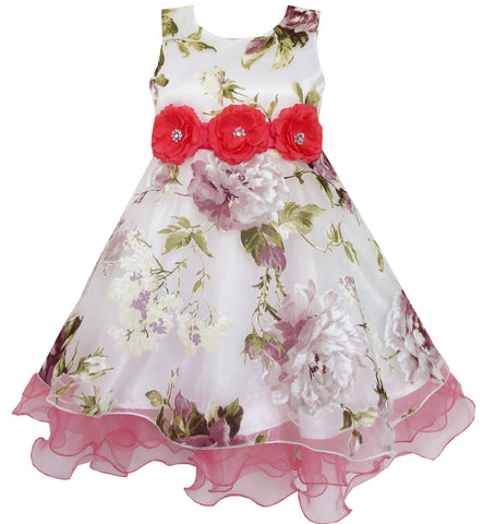 Girls Dress Wedding Tulle Overlay Flower Detailing Red Size 4-14 Years