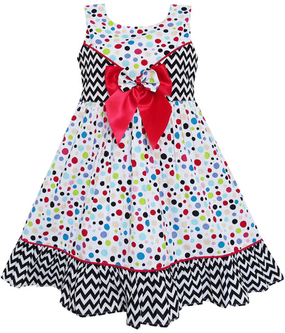 Girls Dress Sleeveless Polka Dot Bow Tie Striped Black Wave Size 4-14 Years