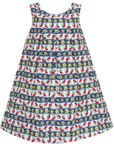 Girls Dress Cherry Flower Green Leaves Print Striped Size 3-8 Years