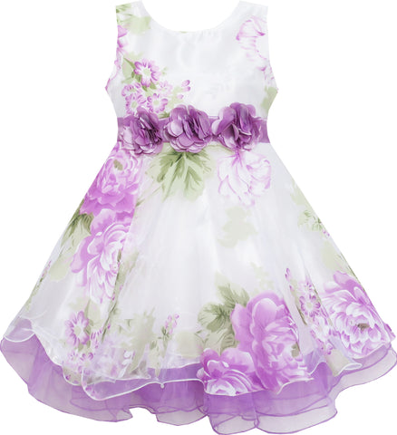 Girls Dress Tulle Bridal Lace With Flower Detailing Purple Size 4-14 Years