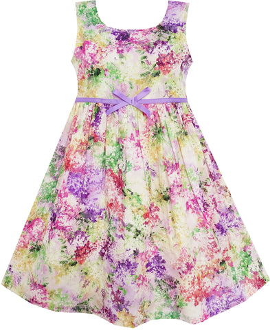 Girls Dress Blooming Flower Garden Print Sleeveless Purple Size 4-10 Years