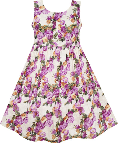 Girls Dress Blooming Flower Dalia Green Leaves Purple Size 4-10 Years