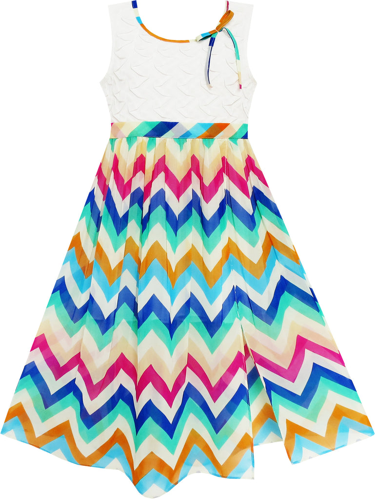 Girls Dress Lace Bodice Multicolor Wave Rainbow Striped Size 7-14 Years