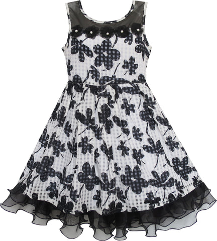 Girls Dress Lace Tulle Flower Transparent Shoulder Black Size 7-14 Years