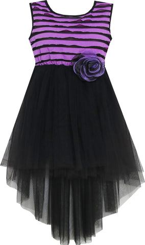 Girls Dress Hi-Lo Maxi Sleeveless Striped Lace Purple Black Size 7-14 Years