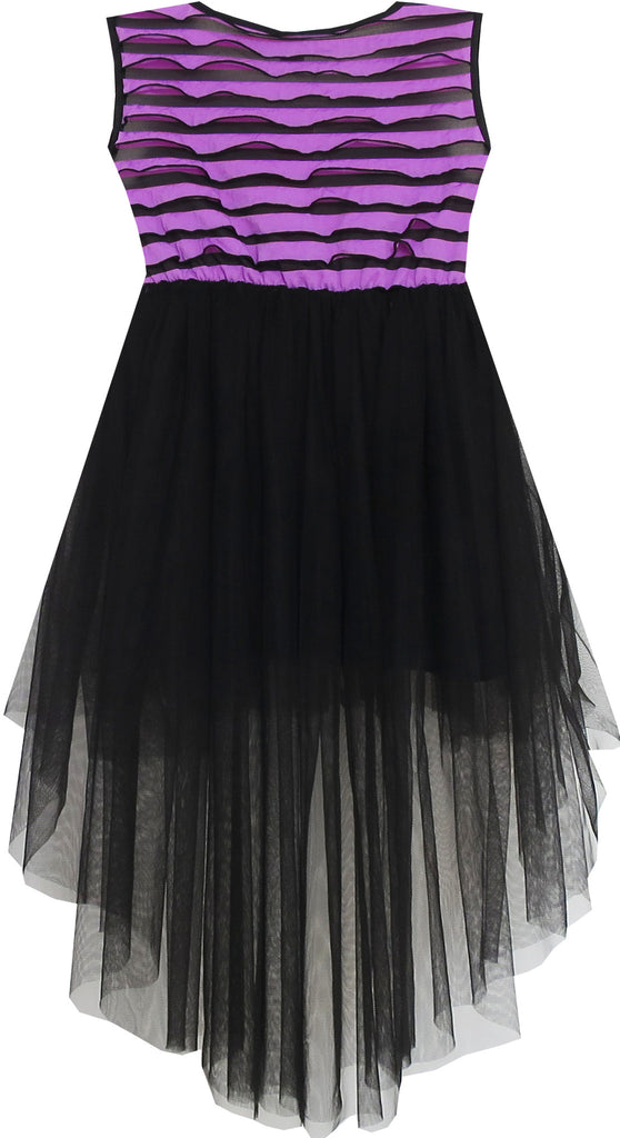 Girls Dress Hi Lo Maxi Sleeveless Striped Lace Purple