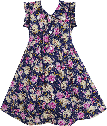 Girls Dress Turn-down Collar Button Front Flower Print Size 4-10 Years